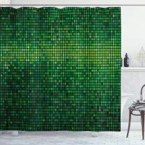 """Ambesonne Green Shower Curtain, Abstract Vibrant Square Pixel Mosaic Design Geometric Technology Theme Digital Grid Print, Cloth Fabric Bathroom Decor Set with Hooks, 75"""" Long, Green"""