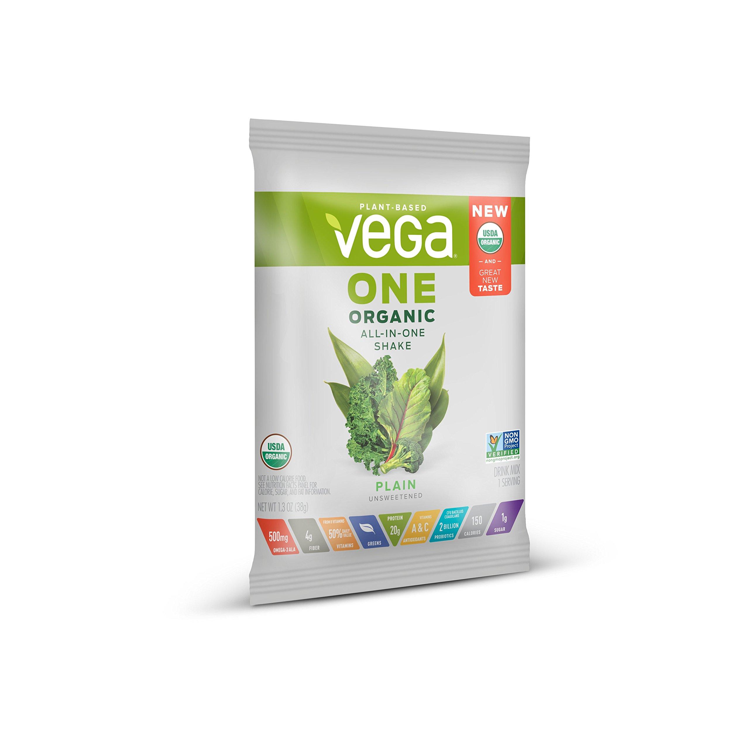 Vega One Organic Plant Protein Powder, Plain Unsweetened, 1.4 Ounce