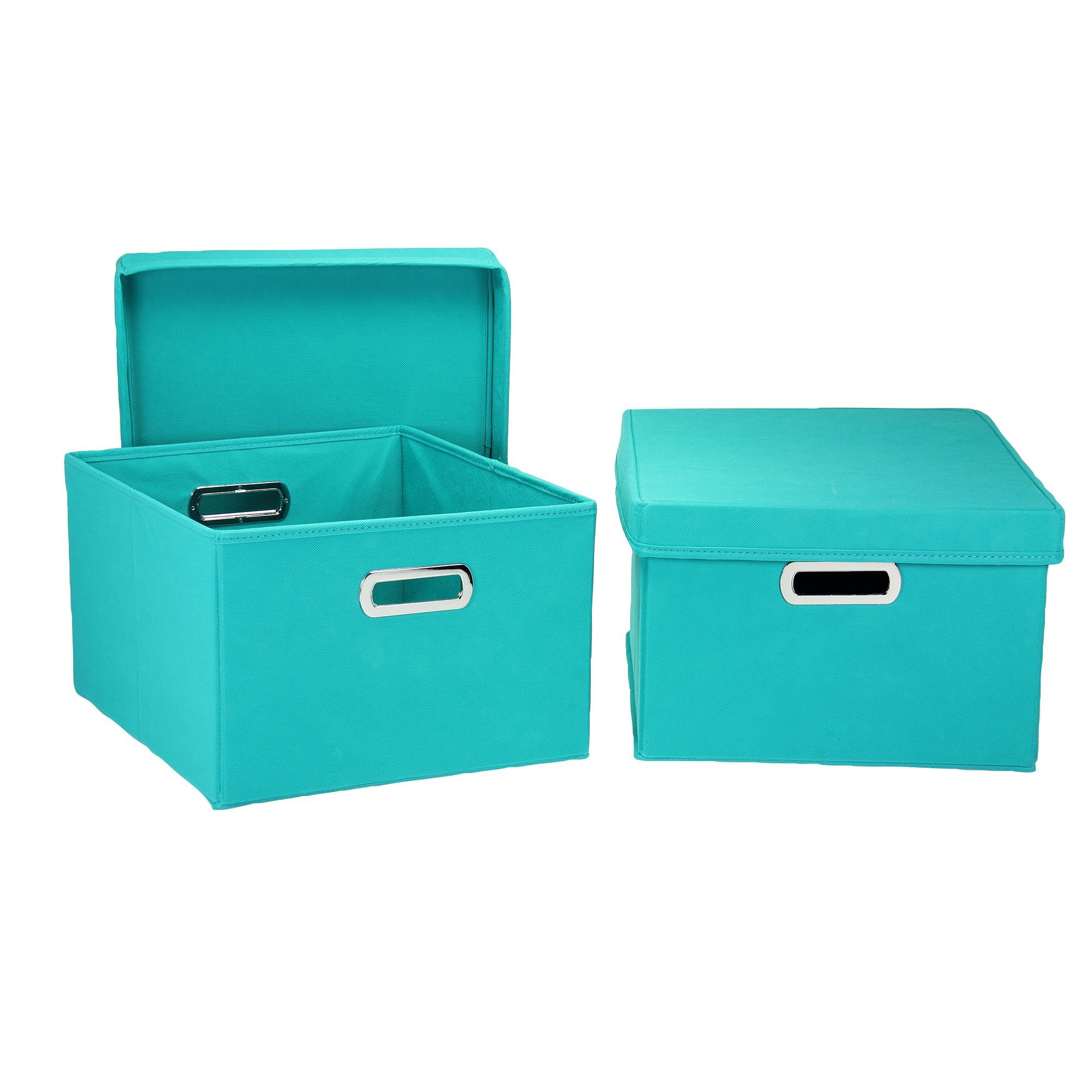 Household Essentials Fabric Storage Boxes with Lids and Handles, Aqua
