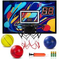 GUGUGO Graffiti Indoor Mini Basketball Hoop with Electronic Scoreboard & 3 Balls for Kids and Adults, Portable Over The Door Basketball Set - Basketball Toy Gifts for Boys Girls Teens