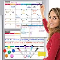 Dry Erase Calendar Whiteboard Magnetic Calendar for Refrigerator 4 in 1: Monthly Weekly Daily Planner, Habit Tracker for Fridge and Wall, Bonus 6 Color Pins 4 Markers and Eraser