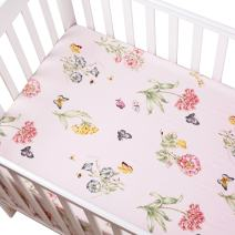 Brandream Pink Butterfly Sweet Flower Printed Crib Sheets Girl Fitted Baby Sheet 100% Hypo-allergenic Soft Cotton