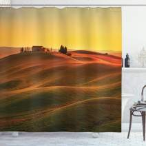 "Ambesonne Italian Shower Curtain, Rural Landscape of European Mediterranean Old House in Countryside Farm Print Art, Cloth Fabric Bathroom Decor Set with Hooks, 70"" Long, Orange White"