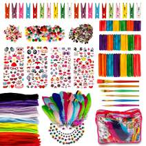 Hakkin Art and Craft Kit for Kids,Kids Art Supplies Jar Including Pompoms, Popsicle Sticks, Pipe Cleaners Feathers Wiggle Googly Eyes Stereo Stickers and Loads More DIY Art Supplies Set