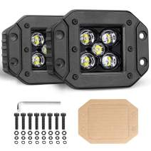 OFFROADTOWN Flush Mount LED Pods, 2pcs 5'' 100W LED Driving Lights LED Work Light Spot Beam Flush Mount LED Lights Super Bright Off Road Lights Fog Lights for Truck SUV Boat 4x4 Jeep Grill Mount