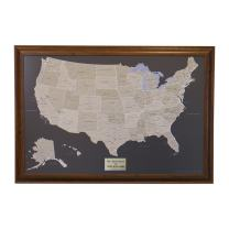 Personalized Earth Toned US Push Pin Travel Map with Brown Frame and Pins - 27.5 inches x 39.5 inches
