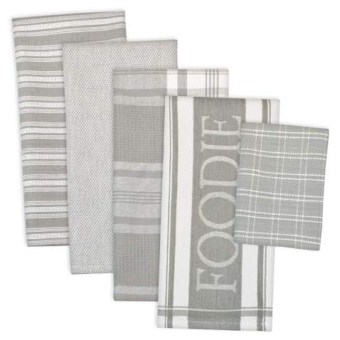 """DII Assorted Decorative Kitchen Dish Towels & Dish Cloth Foodie Set, Ultra Absorbent for Washing and Drying (Towels 18x28"""" & Cloths 13x13"""") Light Gray, Set of 5"""
