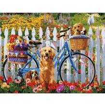 TOCARE Adult Paint by Numbers Kits for Adults,DIY Painting by Numbers On Canvas,20x16Inch Puppy Bike