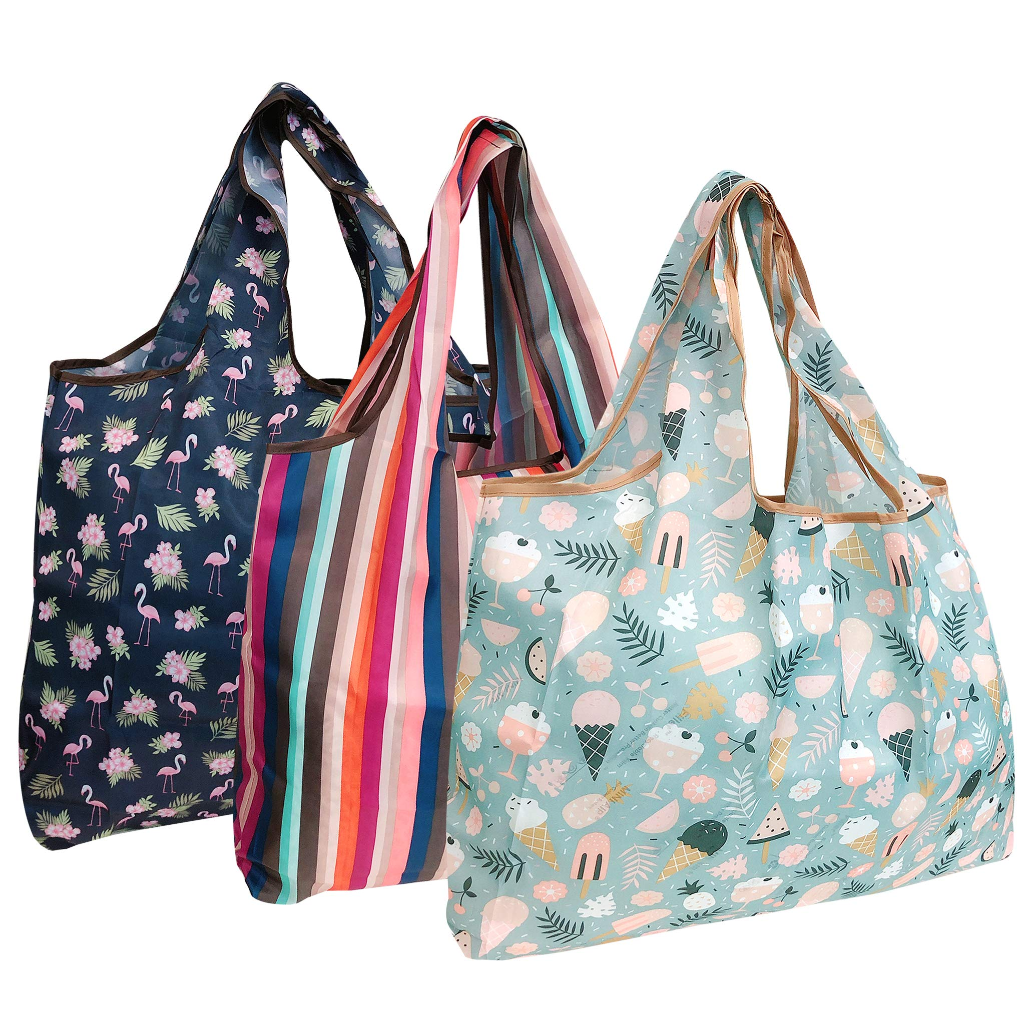 Wrapables A72040c Eco-Friendly Large Reusable Shopping Bags, Foldable, Lightweight, Durable, Summer Fun