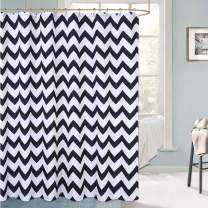 "Haperlare Chevron Shower Curtain, Waterproof Fabric Shower Curtain for Bathroom, Striped Shower Curtain with Rustproof Grommets, 72"" x 72"", Black and White"
