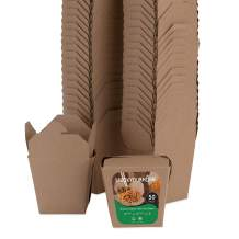 Take Out Food Containers 16 Oz Microwaveable Kraft Brown Paper Chinese Takeout Box (50 Pack) Leak and Grease Resistant Stackable Pint Size to Go Boxes - Recyclable Food Containers - Party Favor Box
