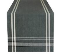 DII 100% Cotton French Stripe Tabletop Collection For Everyday Indoor/Outdoor Dining, Special Occasions or Dinner Parties, Machine Washable, Table Runner, 14x72, Gray Chambray