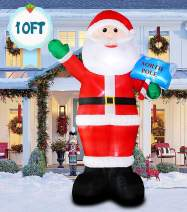 inslife 10 Ft Christmas Inflatable Santa Claus Decoration Inflatable Xmas Santa with Guide Post Decorations for Home Yard Lawn Outdoor Indoor Night