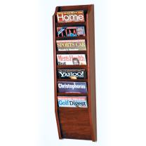 Wooden Mallet 7-Pocket Cascade Magazine Rack, Mahogany