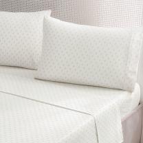 Brielle Fashion 100% Cotton Jersey Sheet Set, Twin, Fleur De Lis Gold