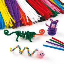 Baker Ross Fluffy Soft Pipe Cleaners, Value Pack of Craft Supplies for Kids (Pack of 120), 30cm, Assorted