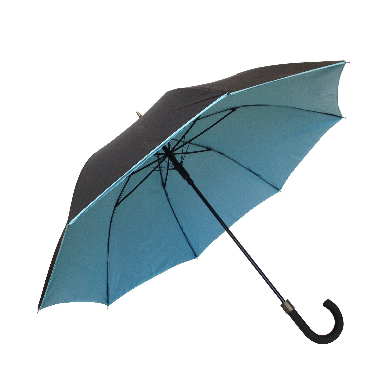 SMATI Stick Umbrella - Double Layers - French Design - Fashion - Sturdy - 8 fibreglass ribs Windproof - color (Turquoise-black)