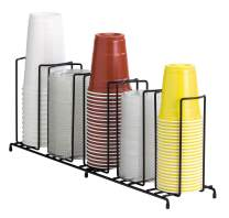 DISPENSE-RITE WR-5 Dispense-Rite Five Section Wire Rack Cup and Lid Organizer, Black