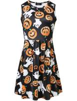 SSLR Women's Printed A-Line Crew Neck Sleeveless Halloween Dress (X-Small, Black(3912))