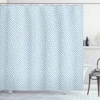 """Ambesonne Greek Key Shower Curtain, Geometrical Maze Pattern Design with Hellenistic Origins in Pale Blue Tone, Cloth Fabric Bathroom Decor Set with Hooks, 70"""" Long, White Blue"""