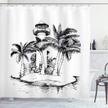 "Ambesonne Tropical Shower Curtain, Lighthouse on Island Surrounded with Palm Trees Exotic Landscape Sketchy Artwork, Cloth Fabric Bathroom Decor Set with Hooks, 84"" Long Extra, Black and White"