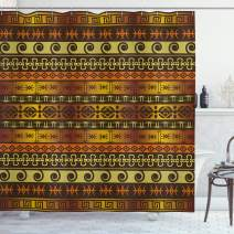"""Ambesonne Primitive Shower Curtain, Indigenous Geometric Motifs with Ornament Traditional Tribal, Cloth Fabric Bathroom Decor Set with Hooks, 70"""" Long, Brown Yellow"""