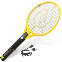 Tregini Electric Fly Swatter – Rechargeable Bug Zapper Tennis Racket with Safe to Touch Mesh Net and Built-In Flashlight - Kills Insects, Gnats, Mosquitoes and Bugs