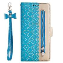 ZCDAYE Zipper Wallet Case for iPhone 6 Plus/6S Plus, Fabulous Glossy Pattern Magnetic Closure PU Leather [Bowknot Lanyard][Kickstand][Card Slots] Soft TPU Book Cover for iPhone 6 Plus/6S Plus -Blue