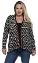 Belldini Women's Fashion, Plus Size, Long Sleeve Swing Cardigan with Geo Print