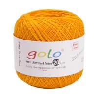 Crochet Thread Yarns for Begingers Size20-100% Contton Yarn for Knitting Crochet DIY Hardanger Cross Sitch Crochet Thread Balls Rainbow Turquoise 31 Colors Avilable (Golden)