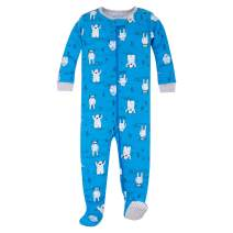 Lamaze Organic Baby Boys Stretchie One Piece Sleepwear, Baby and Toddler, Footed, Zipper