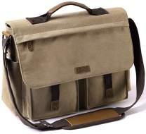 Messenger Bag for Men, VASCHY Vintage Water Resistant Waxed Canvas Satchel 15.6 inch Laptop Briefcase Shoulder Bag with Padded Shoulder Strap CAMEL