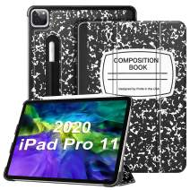"""Fintie Case for iPad Pro 11"""" 2020/2018 with Pencil Holder [Supports 2nd Gen Pencil Charging Mode] - Lightweight Slim Shell Standing Hard Back Cover, Auto Wake/Sleep, Composition Book Black"""