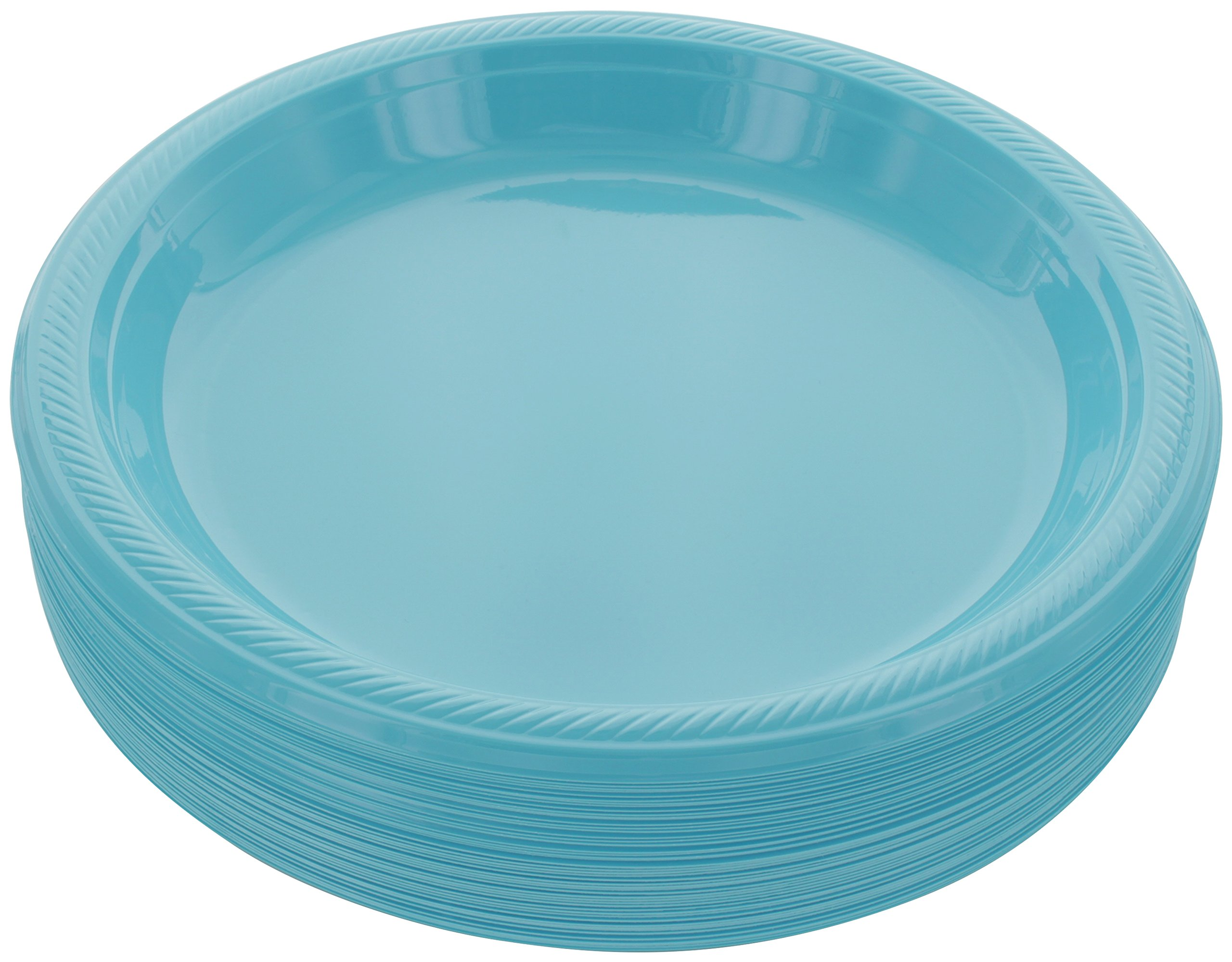 "Amcrate Light Blue Disposable Plastic Party Plates 10.4"" - Ideal for Weddings, Party's, Birthdays, Dinners, Lunch's. (Pack of 50)"