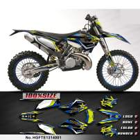 Kungfu Graphics Custom Decal Kit for Husaberg FE TE 125 250 300 350 450 501 2013 2014, Black White Blue,HGFTE1314001
