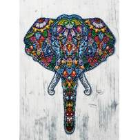 MXJSUA DIY 5D Special Shape Diamond Painting by Number Kit Crystal Rhinestone Round Drill Picture Art Craft Home Wall Decor 12x16In Colored Elephant