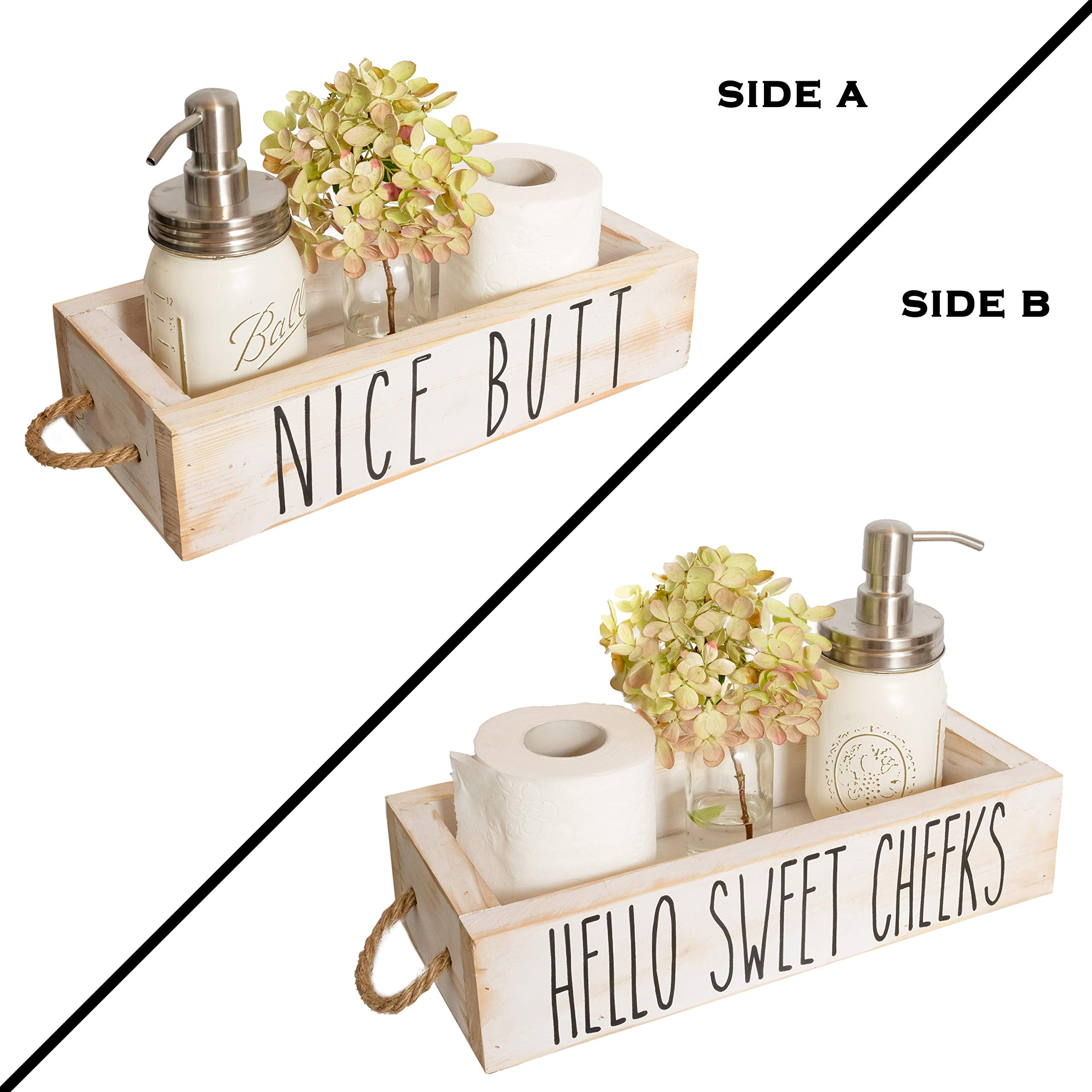 Rustic Home Decor Box for Bathroom Kitchen Farmhouse Bathroom Decor Wooden Toilet Paper Holder White Nice Butt Bathroom Decor Box 2 Sides with Funny Sayings