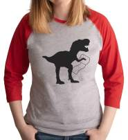7 ate 9 Apparel Womens Funny Dinosaur Toilet Paper Red Shirt