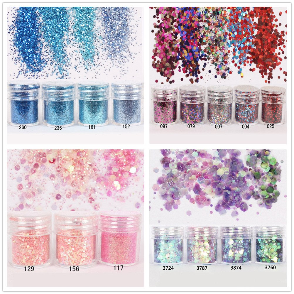 NICOLE DIARY 16 Boxes Chunky Glitter Iridescent Flakes Glitter Powder Super Fine Paillette Sequins for Christmas Festival Eye Face Body Makeup Nail Art Decorations