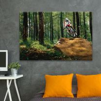 wall26 - Canvas Wall Art Sports Theme - Man Riding a Bike in The Forest - Giclee Print Gallery Wrap Modern Home Decor Ready to Hang - 24x36 inches