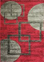 ADGO Atlantic Collection Modern Abstract Geometric Soft Pile Contemporary Carpet Thick Plush Stain Fade Resistant Easy Clean Bedroom Living Dining Room Floor Rug (4' x 6', AK02 - Red Grey)