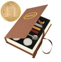 Samyo Wax Seal Stamp Kit Retro Creative Sealing Wax Stamp Maker Gift Box Set Brass Color Head with Vintage Classic Alphabet Initial Letter (H)