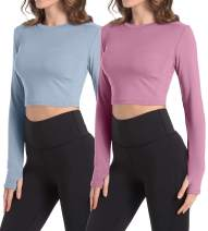 HIBETY 1 or 2 Pack Women's Crop Top Long Sleeve Athletic Workout Yoga Shirts Cropped Sweatshirts with Thumb Hole