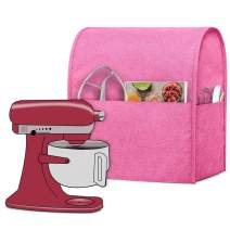 Luxja Dust Cover Compatible with 6-8 Quart Stand Mixer, Cloth Cover with Pockets for Stand Mixer and Extra Accessories (Compatible with 6-8 Quart Stand Mixer), Pink