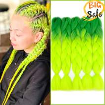 "NAISIER Ombre Jumbo Braiding Hair Extension Synthetic Kanekalon Braiding Hair for Twist,Crochet Jumbo Box Braiding Hair,5 Pcs,24"",Green-Fluorescent green"