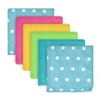 DII Microfiber Multi-Purpose Cleaning Cloths Perfect for Kitchens, Dishes, Car, Dusting, Drying Rags, 12 x 12, Set of 6 - Blueberry Dots