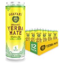 Guayaki Yerba Mate, Lima Limón, Organic Sparkling Alternative to Soda, Tea, and Energy Drinks, 12 Ounce Cans (Pack of 12), Unsweetened with 5 Calories Per Can, 80mg Caffeine