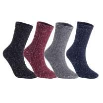 Lian LifeStyle Attractive Women's 4 Pairs Cotton Crew Socks Size 6-9 HR1614