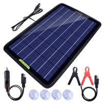 ECO-Worthy 12 Volts 10 Watts Solar Battery Charger & Maintainer Portable Power Solar Panel Backup Solar Trickle Charger for Car Boat Automotive RV with Alligator Clip Adapter