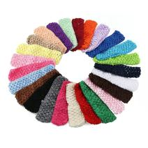 "KW Collection Girl Baby Headbands Elastic Crochet Hair Bands Hair Accessories Elastics Ties Shaper Head Wrap Set Pack of 25 Pcs in 25 Colors (Band: 1.6""×5.5"", 25 Colors, 1 Pcs per Color)"
